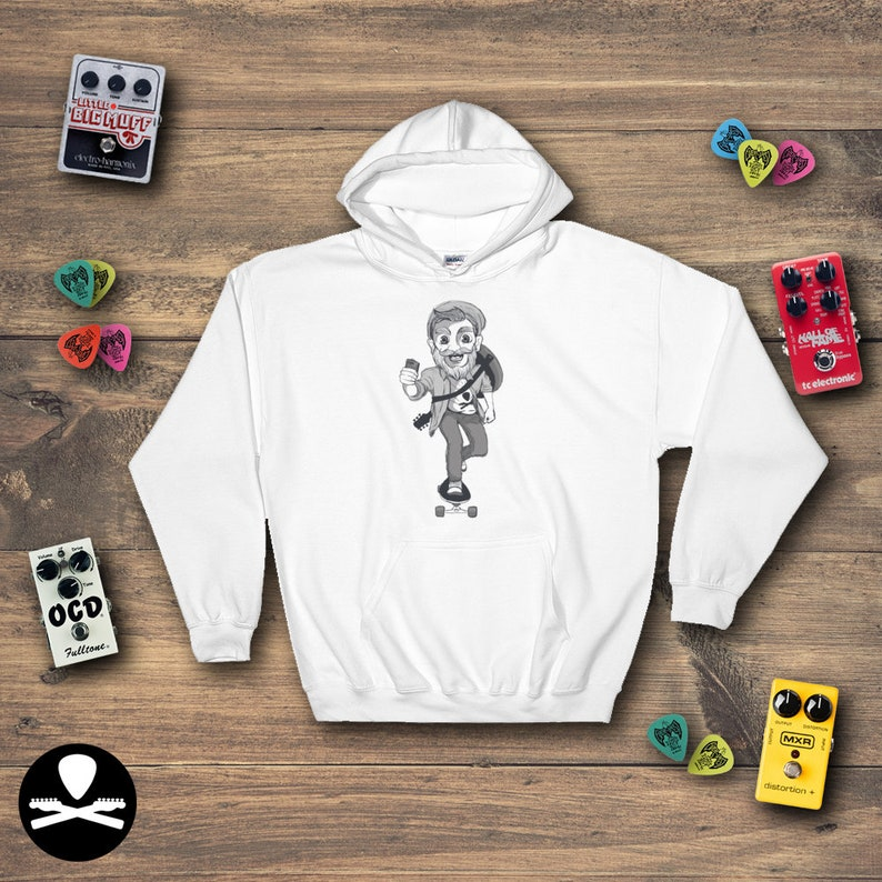 Hipster Guitarist on a Skateboard Hoodie image 0