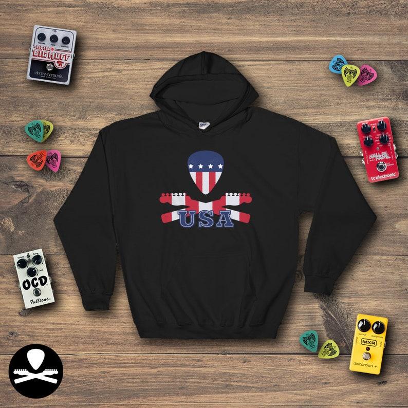 Dimbled USA Flag Crossbones Hoodie image 0