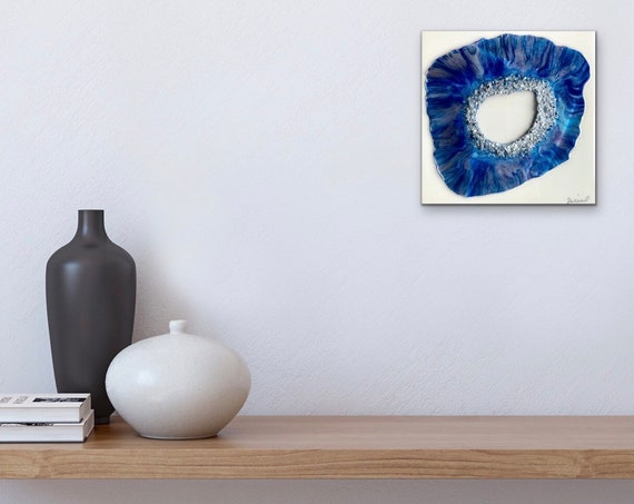 "Free Form Resin ""Geode Blue"" on Wood Canvas, Wall Decor, Wall Art, Hand Painted, Unique 3D Art Decoration"