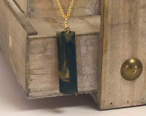 One of a Kind Resin Blue and Gold Swirl Unique Necklace with Gold Chain