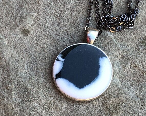 One of a Kind Resin Art Black and White Silver Color Circle Pendant. Great Christmas gift