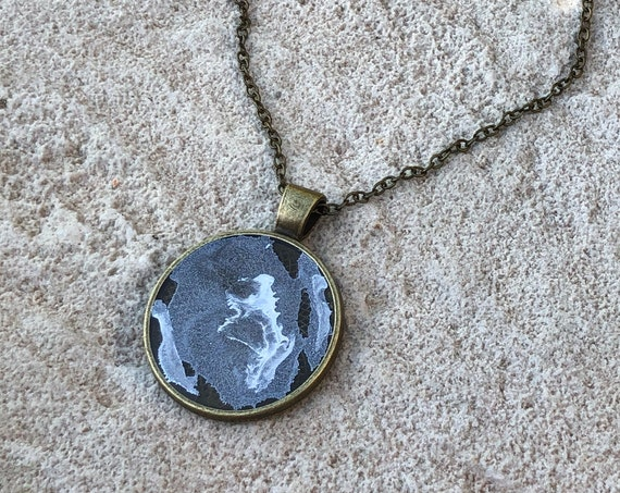 One of a Kind Resin Art Necklace in Silver, White and Clear Antique Bronze Circle Pendant