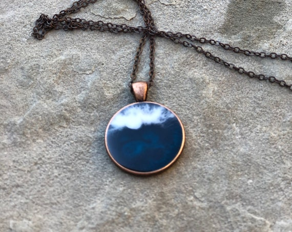 One of a Kind Resin Art Necklace Blue, Green and White Waves Beach Ocean Scene Copper Color Circle Pendant