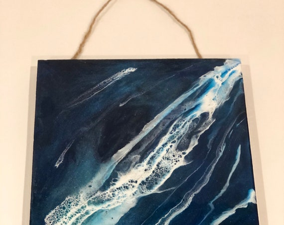 Resin Artwork on Wood Panel Beach Ocean Scene 15 x 12 titled Blue Dreamscape. Great Gift