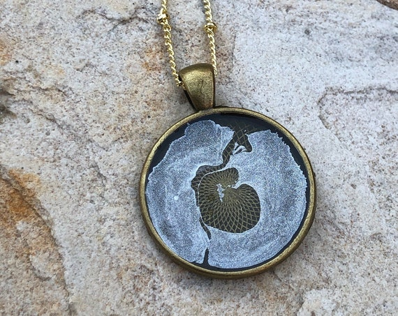 One of a Kind Resin Art Necklace Silver and Clear Circle Pendant