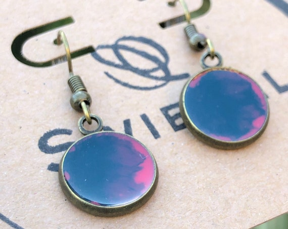 Navy Blue and Pink Unique Resin Art Painted Drop Dangle Earring Set for her