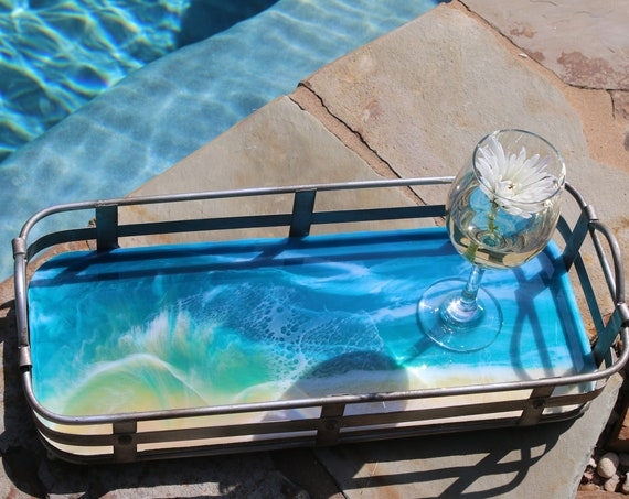 Rectangle Metal & Wood Resin Beach Painting Tray