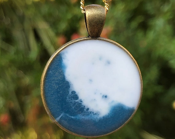 One of a Kind Resin Art Necklace White and Blue Beach Ocean Wave Scene Circle Pendant