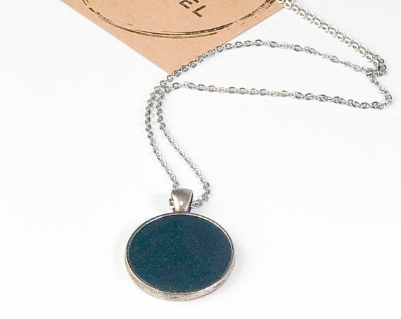 One of a Kind Resin Art Necklace in Black and dark gray Circle Pendant, Gift for her