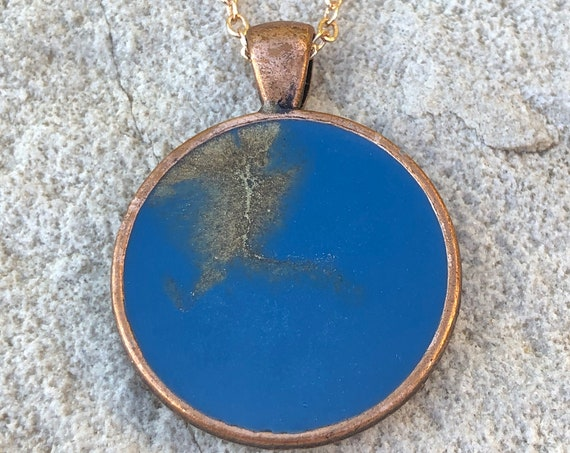 One of a Kind Resin Art Necklace Blue and Gold Island Beach Ocean Scene Copper Color Circle Pendant