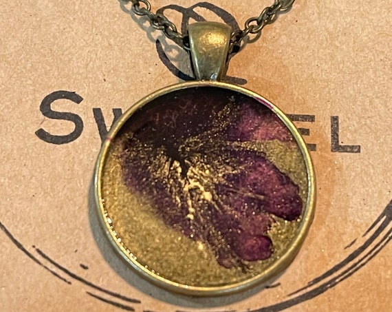 One of a Kind Resin Art Necklace in Purple, Gold and Clear Antique Bronze Circle Pendant