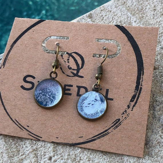 Navy Blue and Silver Unique Resin Art Painted Drop Dangle Earring Set for her