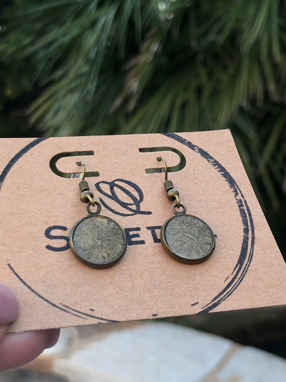 Gold Unique Resin Art Painted Drop Dangle Earring Set for her