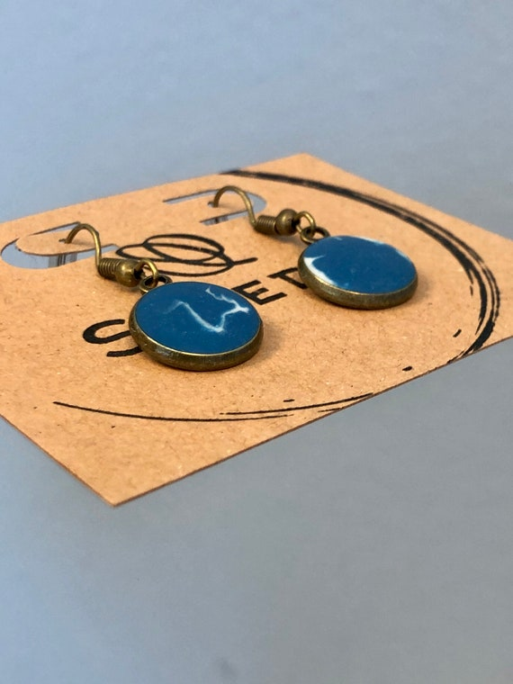Blue and White Unique Resin Art Painted Drop Dangle Earring Set for her