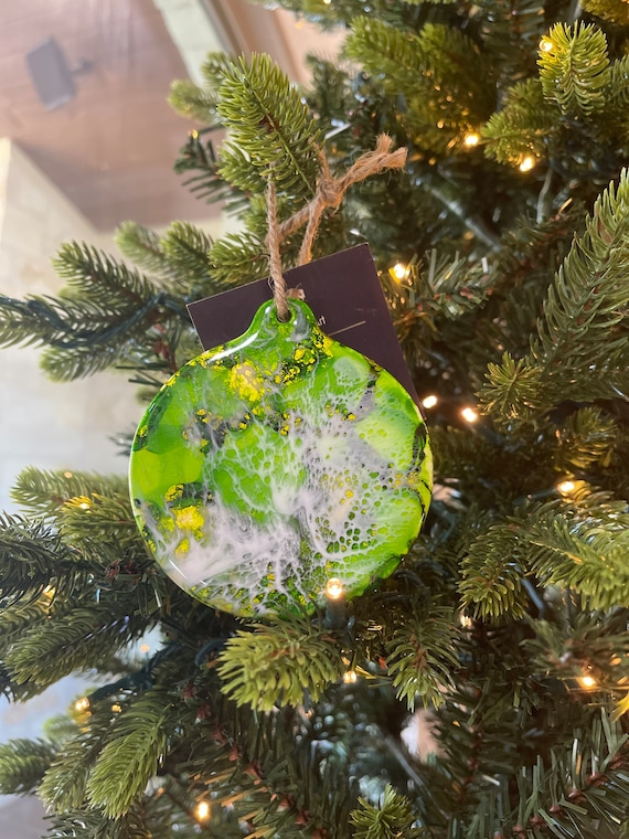 Christmas Holiday Ornaments Porcelain Round 3.5 inches Green and White Hand Painted with Resin and Alcohol Ink.