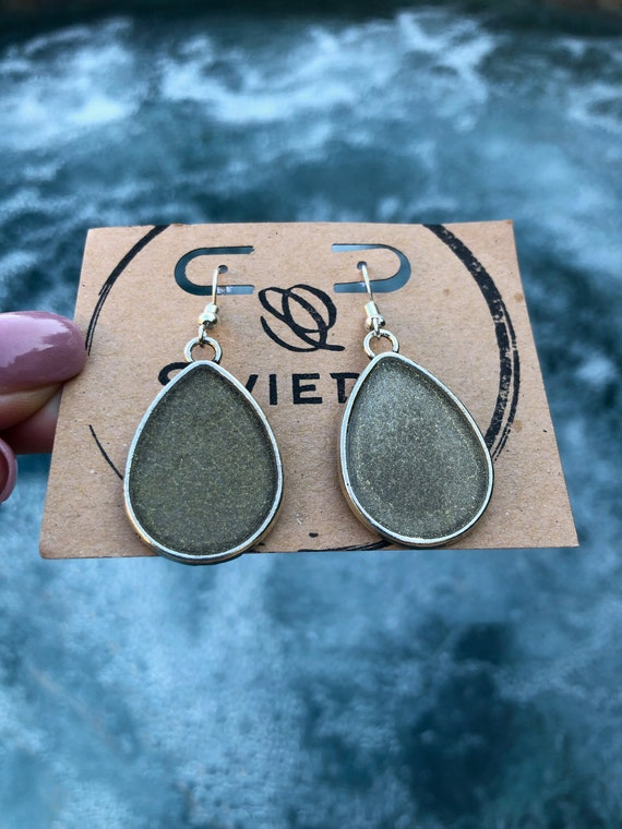 Beautifully Designed Silver with Gold Resin Painted Dangle Teardrop/Waterdrop Earrings -Gift For Her-