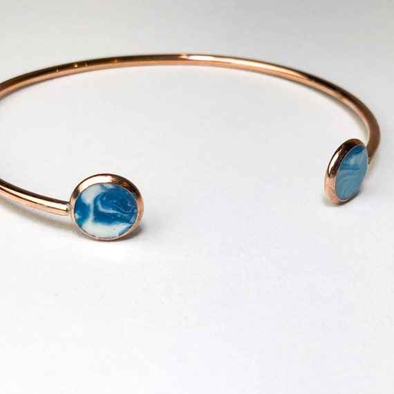Blue and White Beach Ocean Resin Painted Rose Gold Plated Cuff bangle Bracelet, One of a Kind, a Gift for Her,