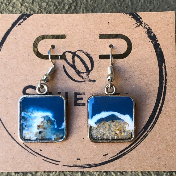 Ocean Beach Waves Scene Resin Art Painted with Real Sand Drop Dangle Earring Set for her