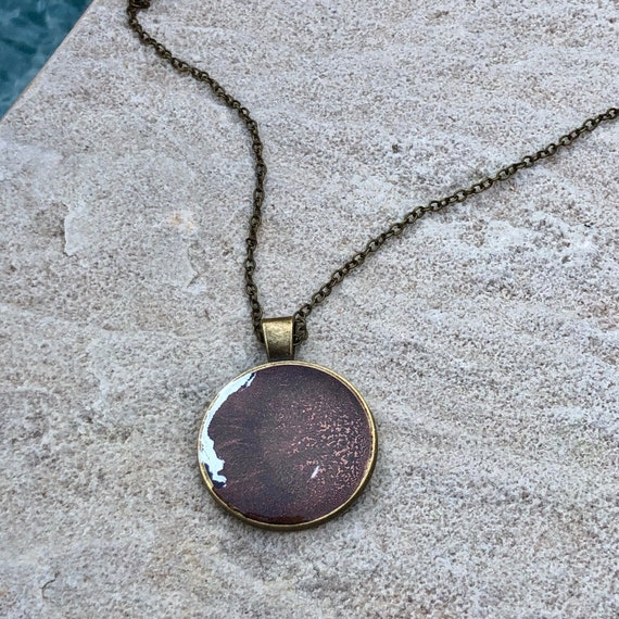 One of a Kind Resin Art Necklace in Brown and Silver Copper Color Circle Pendant