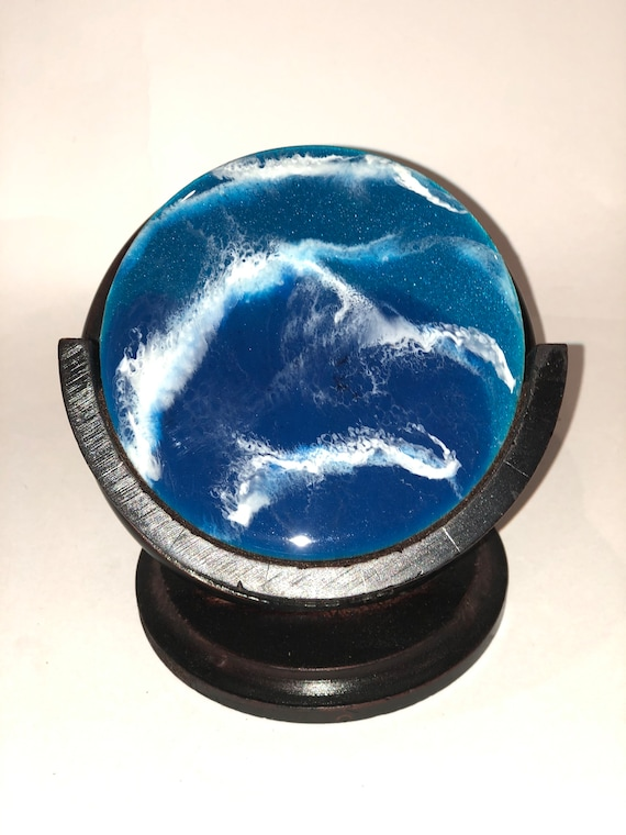 Set of 5 unique beach waves hand painted alcohol ink and resin on wood coasters with mahogany wood stand.