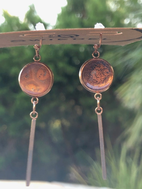 Unique Hand Painted Resin Stainless Steel Dangle Earring Set for Her in Rose Gold Setting