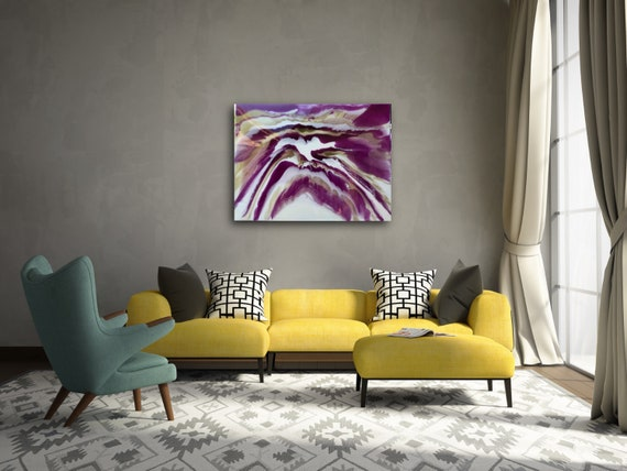 In Flight-Resin Hand Painted Unique Modern Contemporary 30x40 Purple, Gold and White