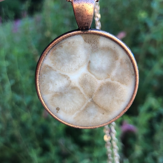 One of a Kind Resin Art Necklace bubbles in Copper Color Circle Pendant. Great Christmas Gift