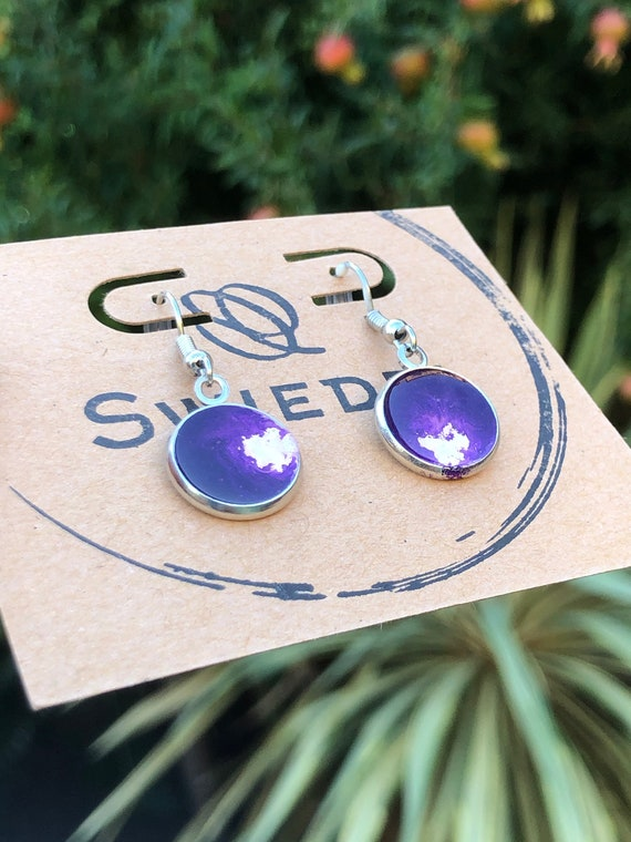 Purple and White Unique Resin Art Painted Drop Dangle Earring Set for her
