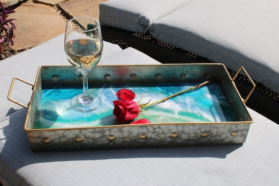 Galvanized Metal Serving Tray with Resin Seascape Abstract Painting.