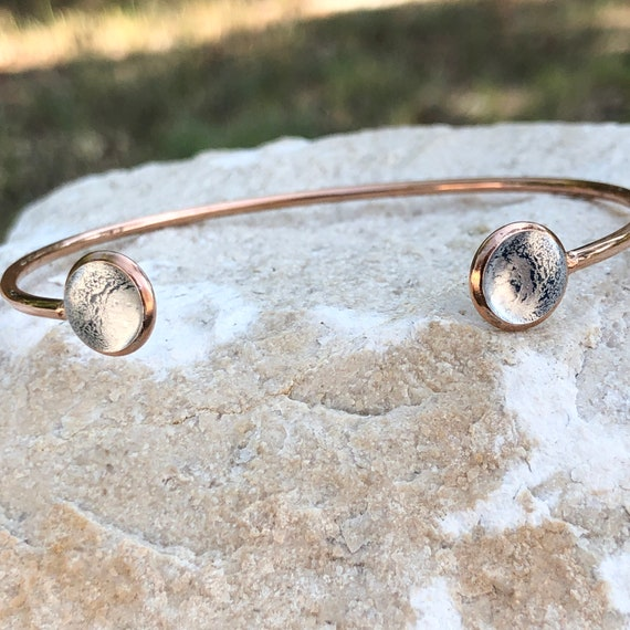 Gray Resin Painted Rose Gold Plated Cuff bangle Bracelet, One of a Kind, a Gift for Her,
