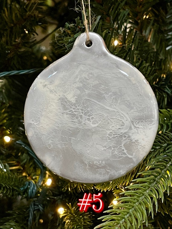 Christmas Holiday Ornaments Porcelain Round 3.5 inches Silver, and White Hand Painted with Resin and Alcohol Ink.