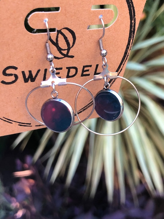 Unique Hand Painted Resin Black, Purple and Pink Stainless Steel Dangle Earring Set for Her