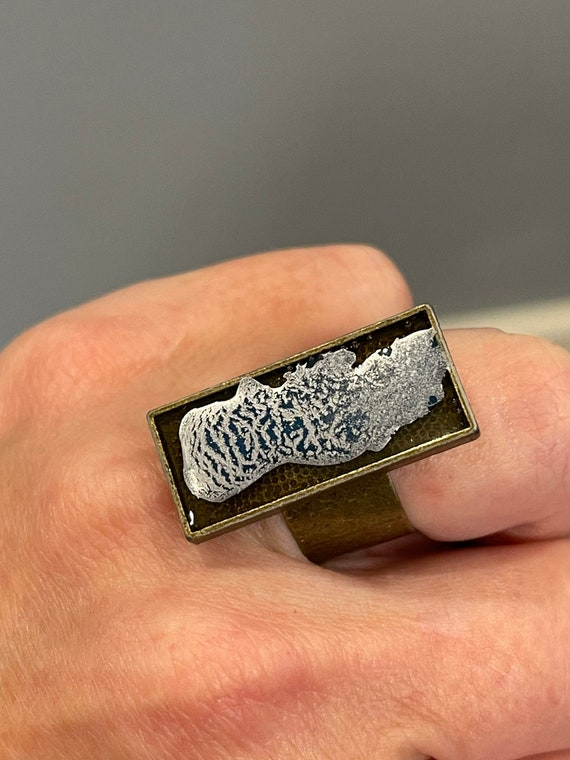 Unique Resin Hand Painted Adjustable Statement Ring Silver with Hints of Blue