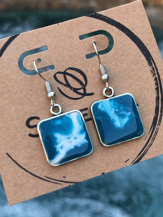 Blue and White Ocean Beach Scene Unique Resin Art Painted Drop Dangle Earring Set for her