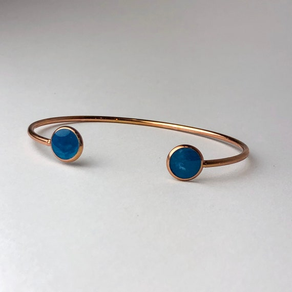 Blue and White Resin Painted Rose Gold Plated Cuff bangle Bracelet, One of a Kind, a Gift for Her,
