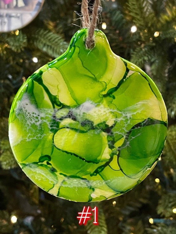 Christmas Holiday Ornaments Porcelain Round 3.5 inches Green Hand Painted with Resin and Alcohol Ink.