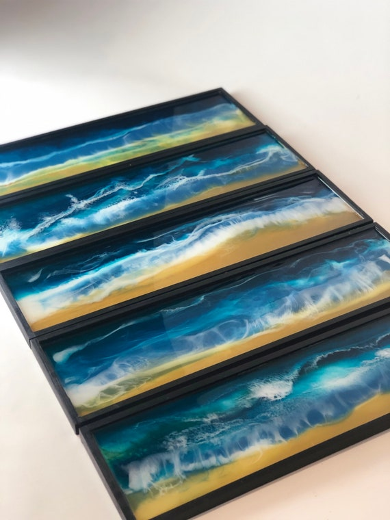 5 Piece Ocean Beach Wood Shadow Box Hand Painted Resin Wall Art in Blues, Greens, Sand, and White Waves