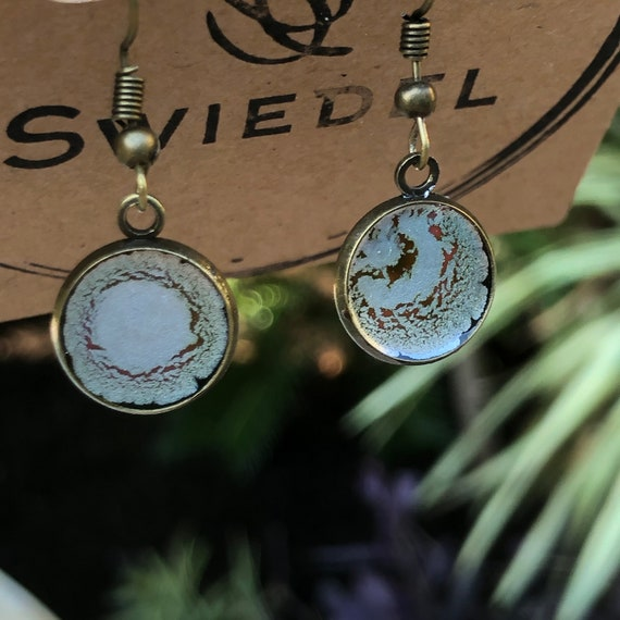 Silver Unique Resin Art Painted Drop Dangle Earring Set for her