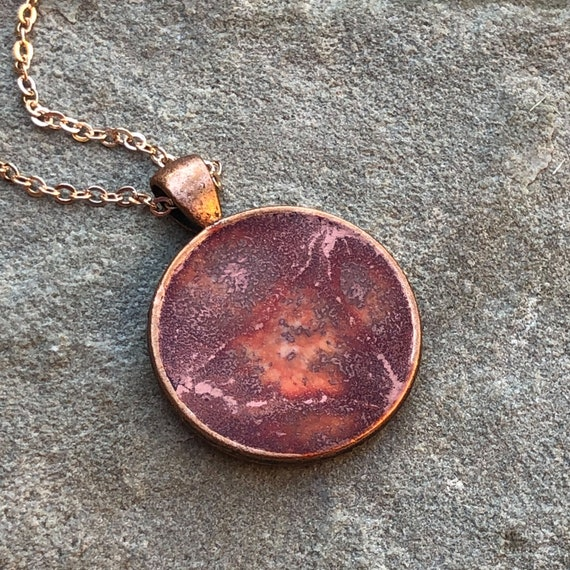 One of a Kind Resin Art Necklace Rose, Orange and Rose Gold in Copper Color Circle Pendant. Great Christmas Gift