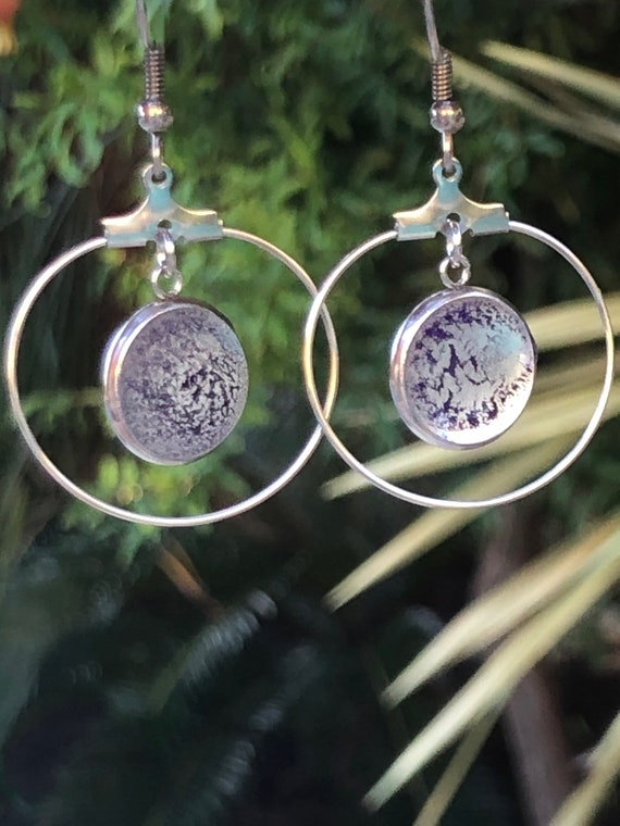 Unique Hand Painted Resin Purple and Silver Stainless Steel Dangle Earring Set for Her