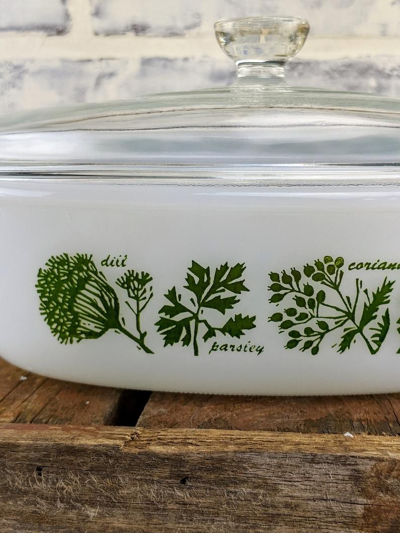 Vintage Glasbake Garden Herb Casserole Dish With Lid