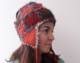 a2e8b8c41f44b Knit n Wool hand knit and 100% wool Peruvian style winter hat with cotton  lining inside. This wool beret is the warmest wintfer gift ever!