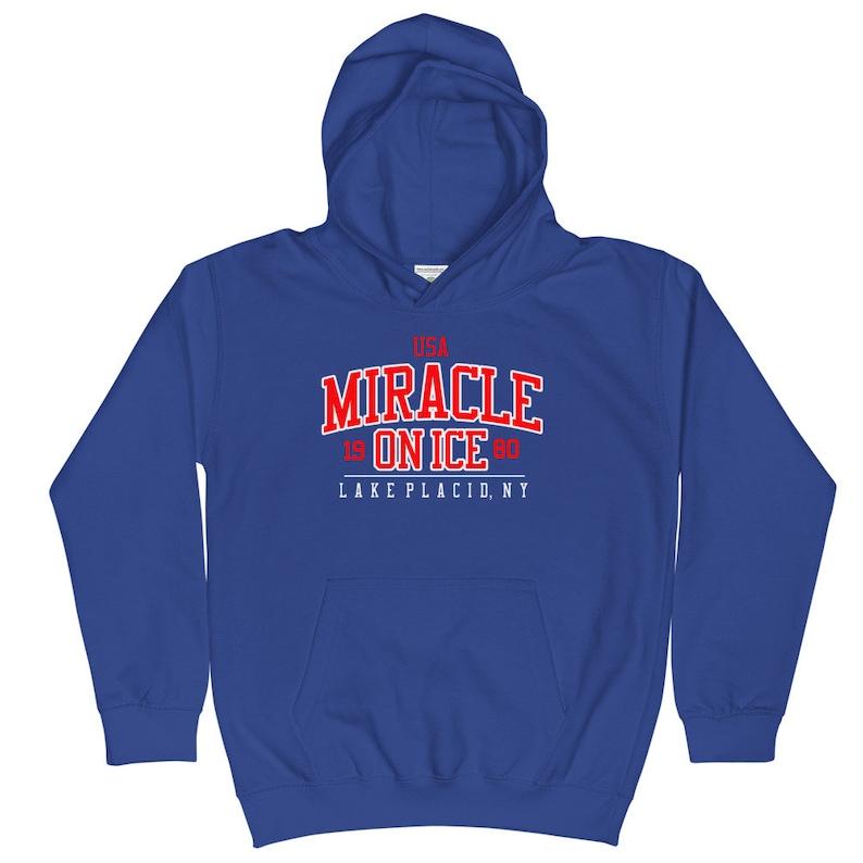 Youth USA Miracle on Ice Lake Placid 1980 Kids Hoodie America Hockey Kids Sweatshirt Do you believe in Miracles Sweater