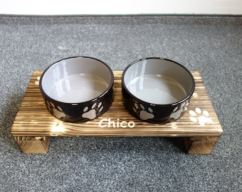 Dog bar Feeding station Feeding bar Food bowl Bowl Food counter, food and water ceramic bowls wood flamed in 2 sizes S, M, L