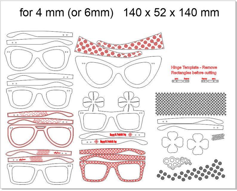vector cutting plan SVG Laser Cut and CNC router Wall glasses DXF file for 4-6 mm wood laser cut files dxf files for cnc