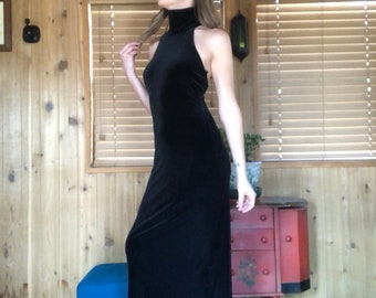 b94873cdb05 Roberta Dress Black Velvet Floor Length