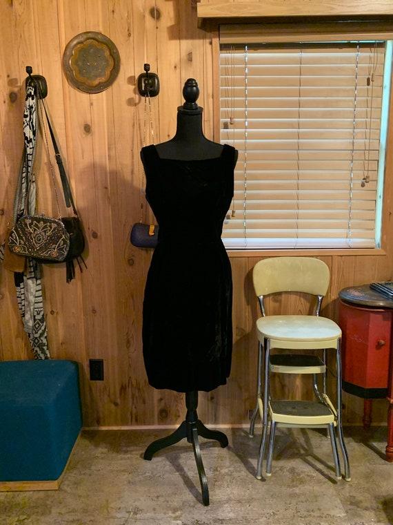 1950s Velvet Little Black Dress