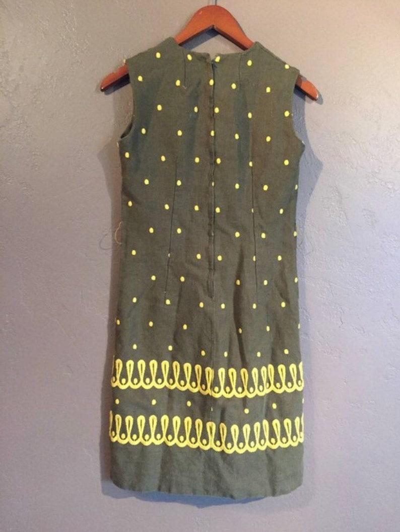 Vintage Homemade Shift Dress Brown with Yellow Polka Dots