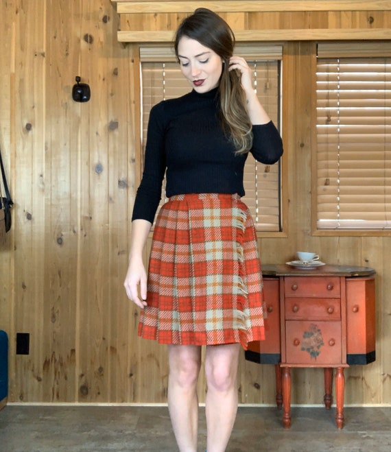 Anne Fogarty Plaid Wrap Skirt Red Tan