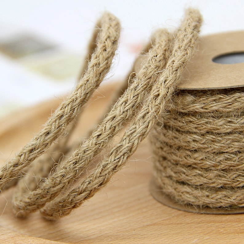 12ba3043e1f3 6mm 10M Natural Burlap Hessian Jute Twine Cord Hemp Rope For Vintage Rustic  Wedding Decoration Packing Supplies